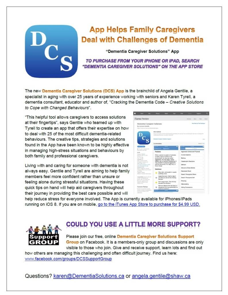 Dementia Caregiver Solutions App Page - Personalized